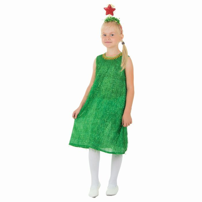 """Детский карнавальный костюм """"Ёлочка"""": платье из дождя, ободок со звездой, размер 28 (рост 104 см)"""