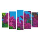 """Модульная картина на подрамнике """"Сирень"""", 2 шт. — 25×55 см, 2 шт. — 25×65 см, 25×75 см, 125×75 см"""