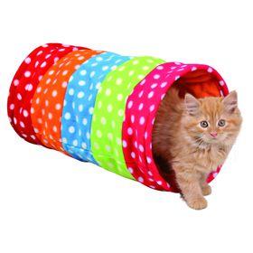 Тоннель Trixie для кошки, 25х50см., горошек, флис. Ош