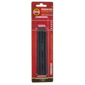 Набор карандашей цельнографитовых разной твердости 4 штуки, Koh-i-Noor PROGRESSO 8914, 6B-HB, блистер