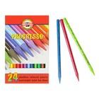 Карандаши художественные цветные Koh-I-Noor PROGRESSO 8758 24 цвета цельнографитовые в картонной коробке