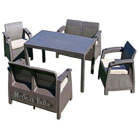 Комплект садовой мебели (2 кресла + 2 дивана + стол) Yalta Fiesta, цвет венге Ош