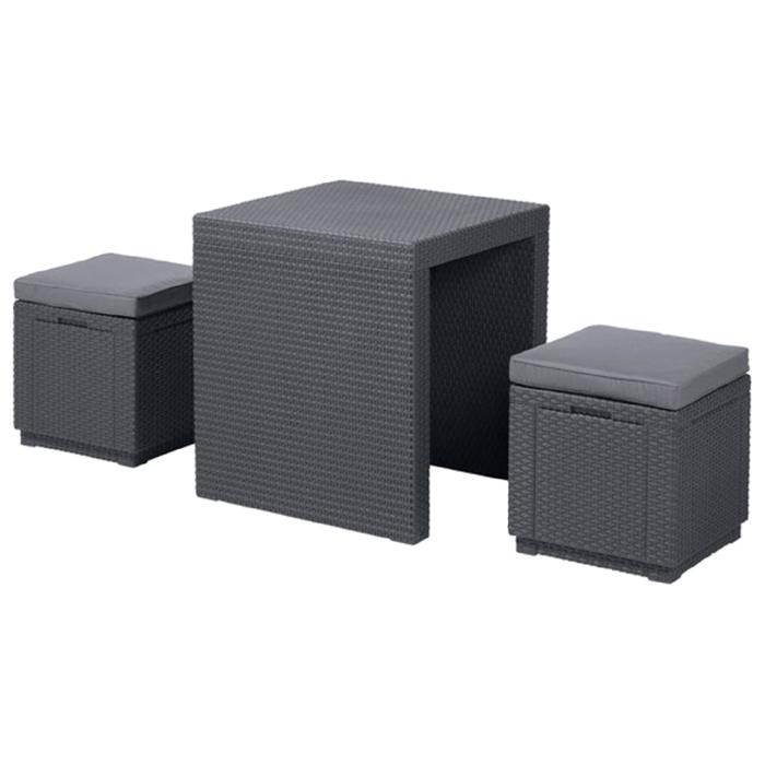 Комплект мебели (ротанг) ARIZONA SET Curver, стол антрацит/серый полиэстер