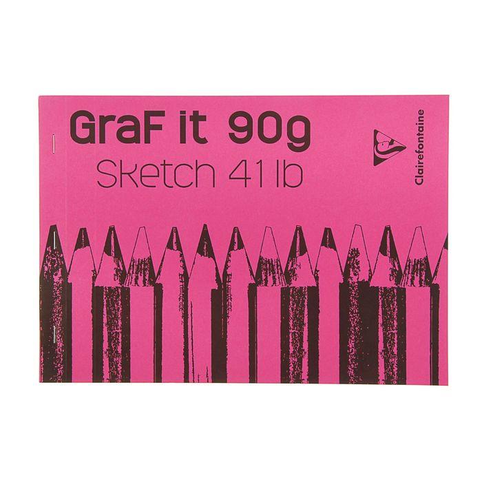 Блокнот для рисунков А4 90 г/м2 Clairefontaine Graft It 80 листов, склейка, с перфорацией, розовый 96680С