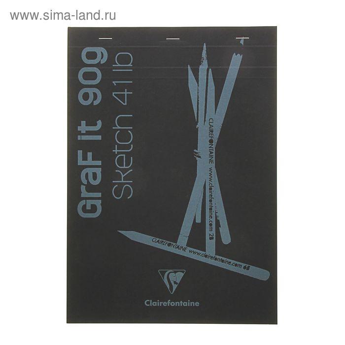 Блокнот для рисунков А4 90 г/м2 Clairefontaine Graft It 80 листов, склейка, с перфорацией, чёрный 96841С