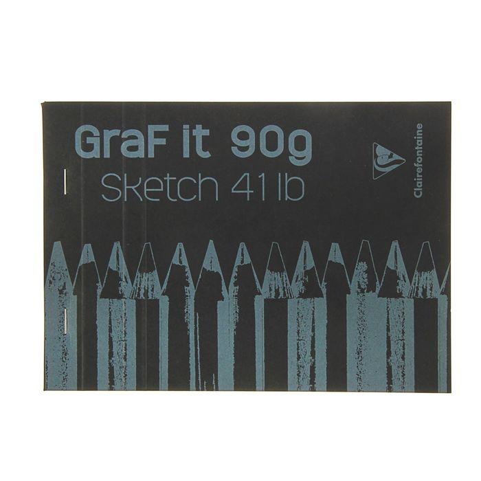 Блокнот для рисунков А5 90 г/м2 Clairefontaine Graft It 80 листов, склейка, с перфорацией, чёрный 96842С