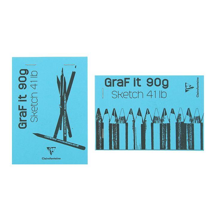 Блокнот для рисунков А6 90 г/м2 Clairefontaine Graft It 80 листов, склейка, с перфорацией, голубой 96669С