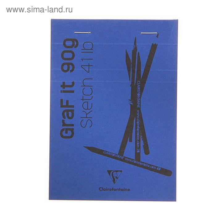 Блокнот для рисунков А6 90 г/м2 Clairefontaine Graft It 80 листов, склейка, с перфорацией, синий 96732С