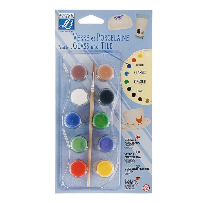 Краска по стеклу и керамики набор 10 цветов*4мл LeFranc&Borgeois Glass&Tile Непрозрачный LF808053