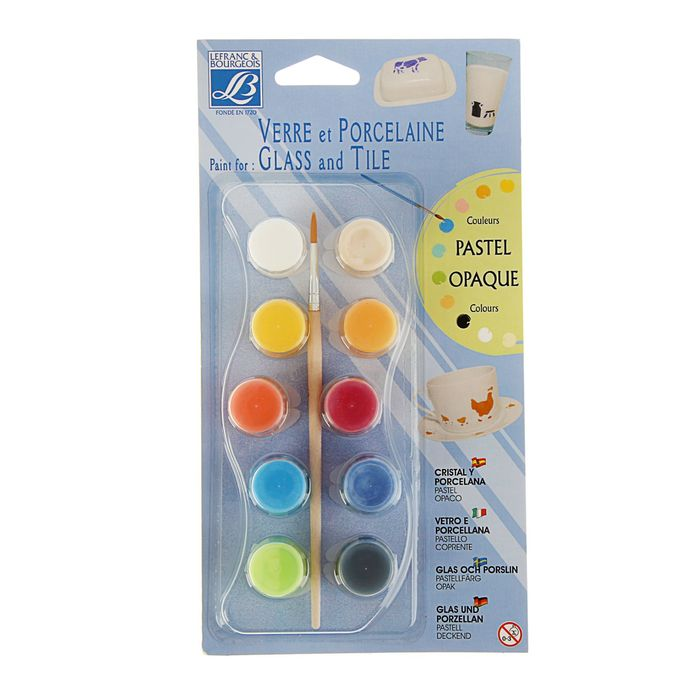 Краска по стеклу и керамики набор 10 цветов*4мл LeFranc&Borgeois Glass&Tile Пастельный непрозрачный LF808054