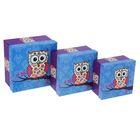 "Набор коробок 3 в 1 ""Сова"", синий, 17 х 17 х 9,5 - 13 х 13 х 7,5 см"
