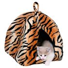 Лежак-домик для кошки Nelo, 35х40х35см., плюш, тигровый.