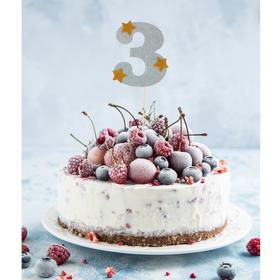 Топпер для торта '3', цвет серебро Ош