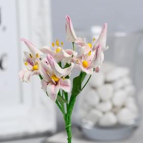 Декор для творчества, лилии розово-белые, 8 см, набор 5 шт.