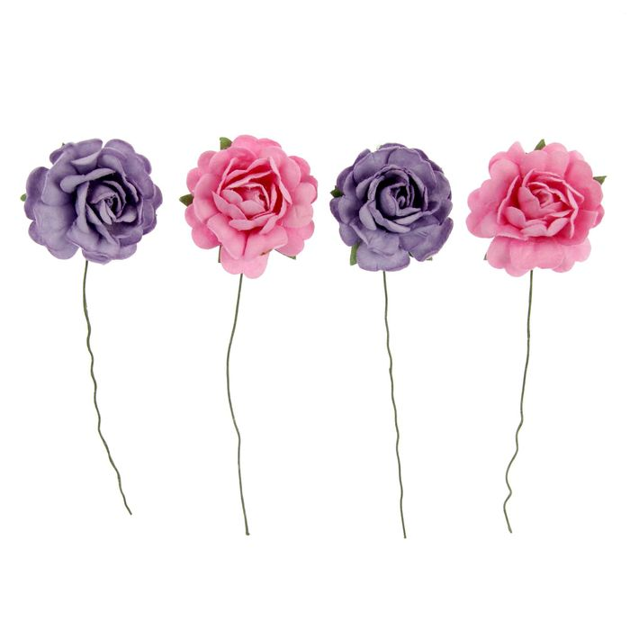 Декор для творчества, d=35 мм, набор 2 шт. - розовые, 2 шт. - фиолетовые
