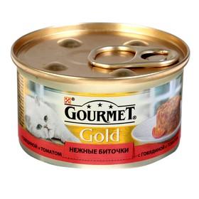"""Влажный корм GOURMET GOLD """"Нежные биточки"""" для кошек, говядина/томат, ж/б, 85 г"""