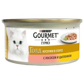 Влажный корм GOURMET GOLD для кошек, кусочки курица/лосось, ж/б 85 г
