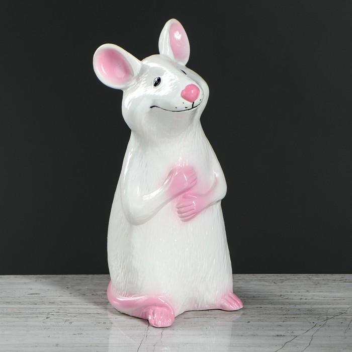 """Копилка """"Мышка-Ириска"""" белая, глазурь"""