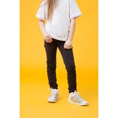 Джинсы для девочки, рост 134 см, цвет чёрный 4158