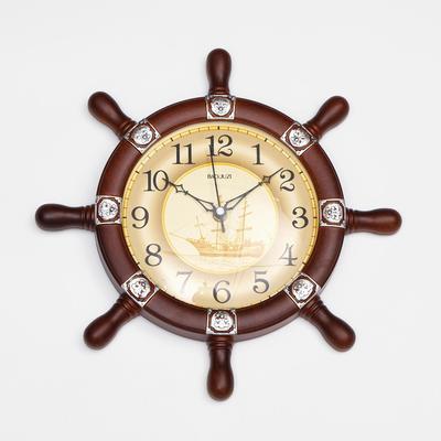 """Часы настенные, серия: Море, """"Штурвал"""", коричневый, d=35см"""