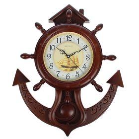 Часы настенные 'Штурвал и якорь', коричневые матовые Ош