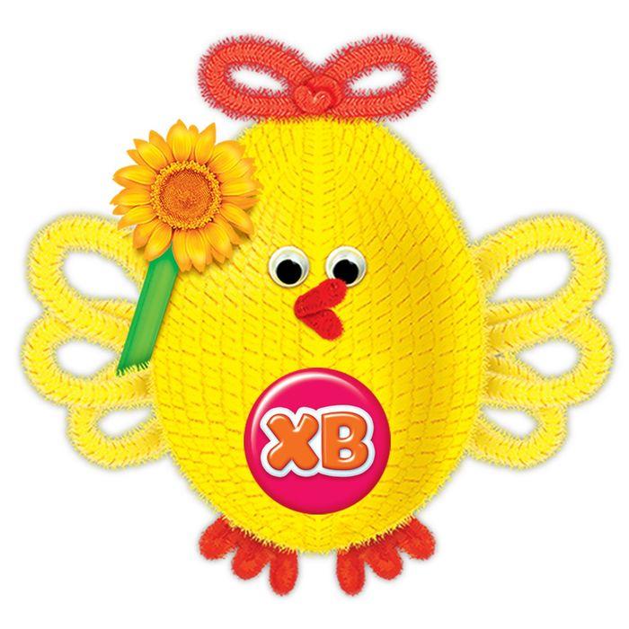 """Игрушка из меховых палочек, набор для создания """"Пасхальная птичка"""" + глазки,пенопл.яйцо, стр - фото 106548563"""