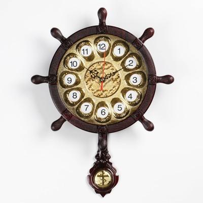 """Часы настенные, серия: Море, """"Штурвал"""", с маятником-якорем 28х42 см"""