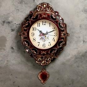 """Часы настенные интерьерные """"Серия Жанна. Цветы"""" с маятником, рама ажурная, коричневые"""