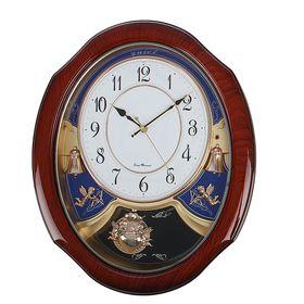 """Часы настенные с маятником """"Серия Элея. Овал с цветами, ангелочками и колокольчиками"""", коричневые"""