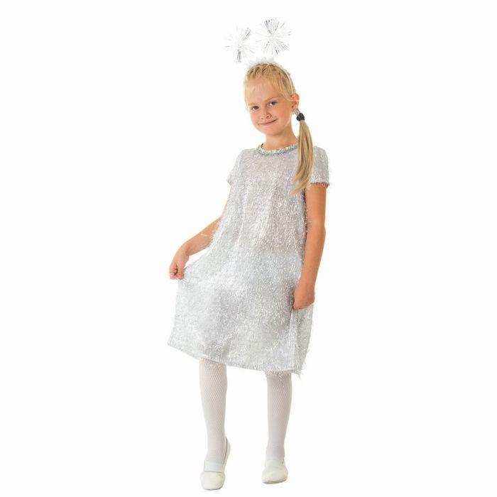"""Карнавальный костюм """"Снежинка"""", платье, ободок, р-р 64, рост 128 см"""