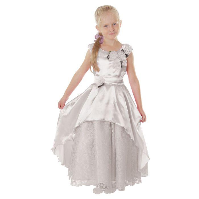 """Карнавальное платье """"Принцесса 002"""", р-р 64, рост 122-128 см, цвет белый"""