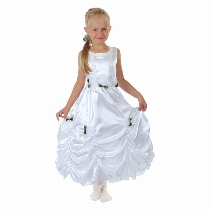 """Карнавальное платье """"Принцесса 003"""", р-р 64, рост 122-128 см, цвет белый"""
