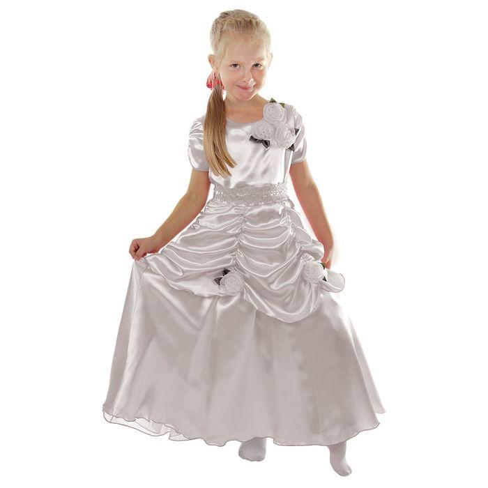 """Карнавальное платье """"Принцесса 005"""", р-р 64, рост 122-128 см, цвет белый"""