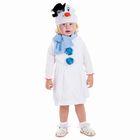 """Карнавальный костюм """"Белый снеговик в шляпке"""", велюр, сарафан, шарф, шапка, рост 98 см"""
