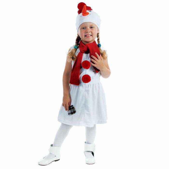 """Детский карнавальный костюм """"Снеговик с красной заплаткой"""", велюр, рост 98 см, цвет белый"""
