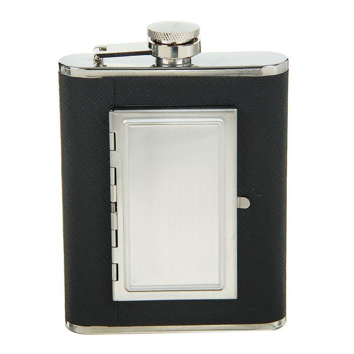 Фляжка Black, 180 мл, чёрная + портсигар на 8 сигарет (внутри фляжки)