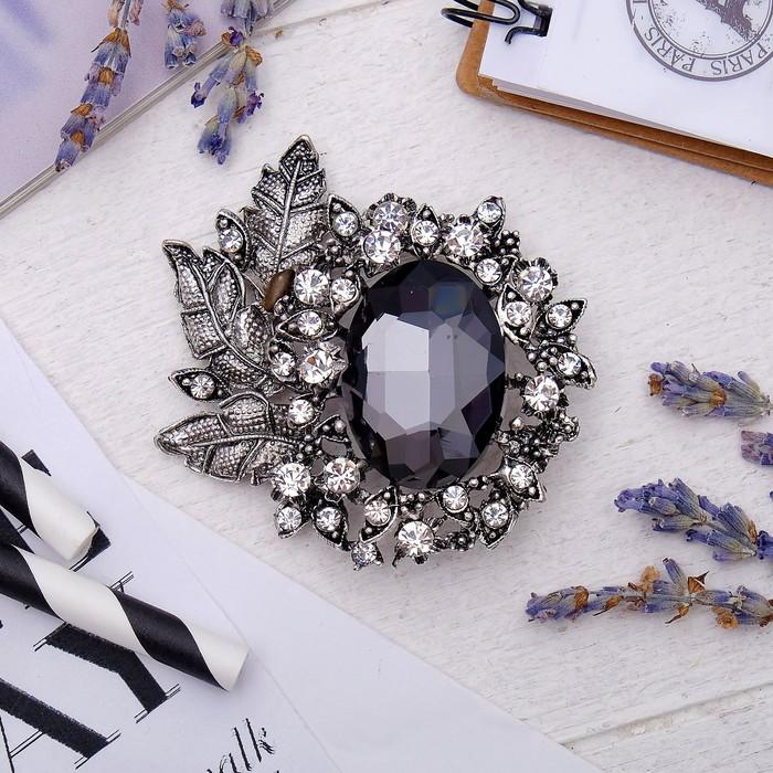 """Брошь """"Императрица"""" лиственная, цвет бело-серый в черненом серебре - фото 234153697"""