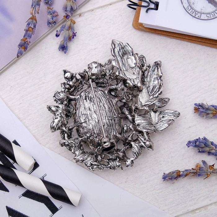 """Брошь """"Императрица"""" лиственная, цвет бело-серый в черненом серебре - фото 234153698"""