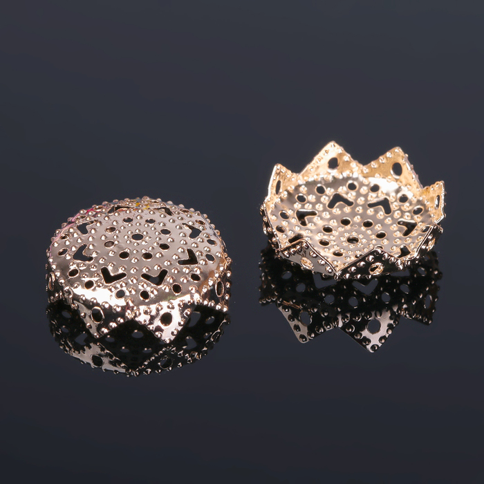 Шапочки для бусин (набор 50шт), СМ-037, 10х18 мм, цвет золото - фото 698078