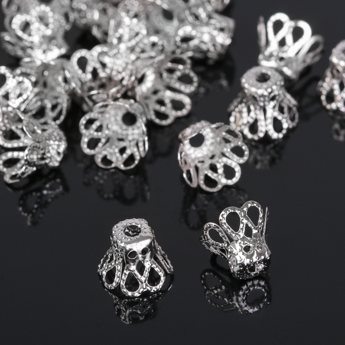 Шапочки для бусин (набор 50шт), СМ-091, цвет серебро