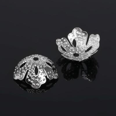Шапочки для бусин (набор 40шт), СМ-035, цвет серебро
