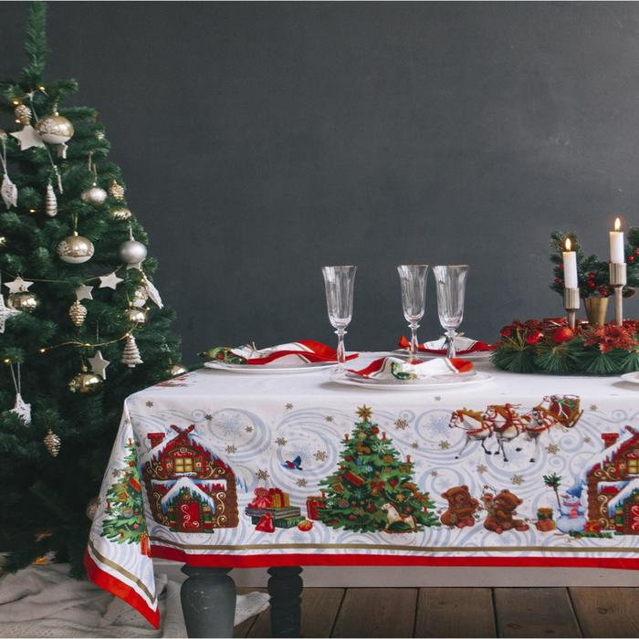 """Набор столовый Этель """"Новогодняя сказка"""" скатерть 110*150 см, салф. 40*40 см-4 шт, хл100%"""