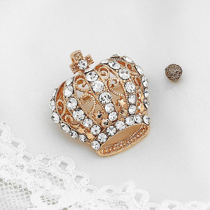 """Брошь """"Корона"""" царская, цвет белый в золоте"""