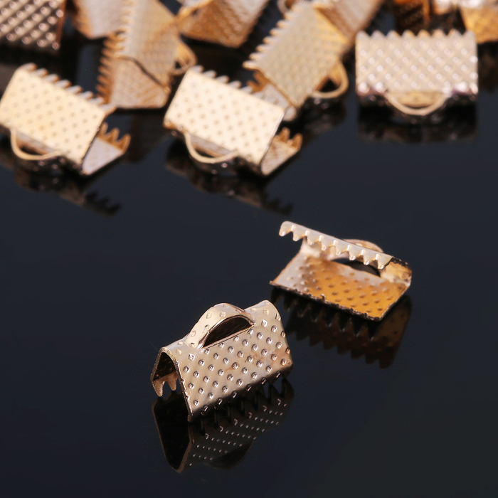 Зажим для ленты (набор 20шт) 10мм СМ-339, цвет золотой