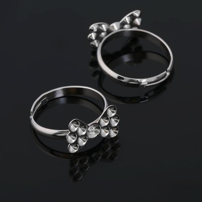 """Основа для кольца """"Бантик"""" (набор 5шт) регул-й раз-р, цвет серебро"""