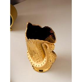 """Ваза настольная """"Лебедь"""", золотисты, 23 см - фото 1703849"""