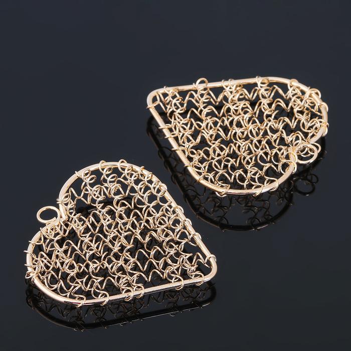 """Основа для создания украшения """"Сердце"""" (набор 5шт) СМ-1199, цвет золото"""