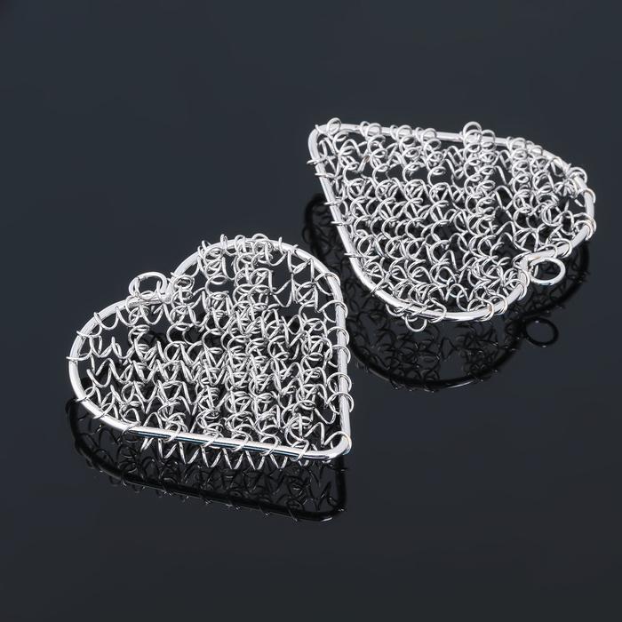 """Основа для создания украшения """"Сердце"""" (набор 5шт) СМ-1199, цвет серебро"""