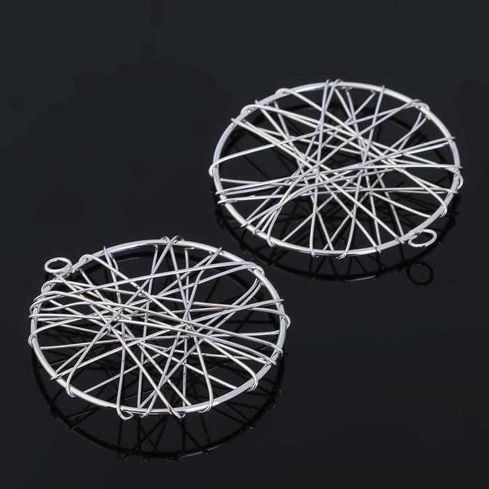 """Основа для создания украшения """"Круг"""" (набор 5шт) СМ-1206, цвет серебро"""