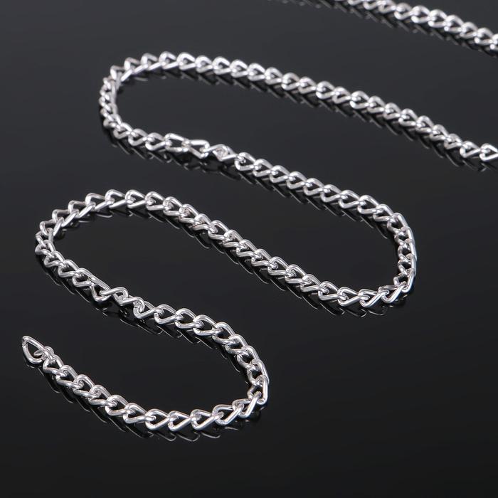 Цепочка без карабина L80см 0,8*3*4,6мм (набор 5шт), СМ-1319, цвет серебро